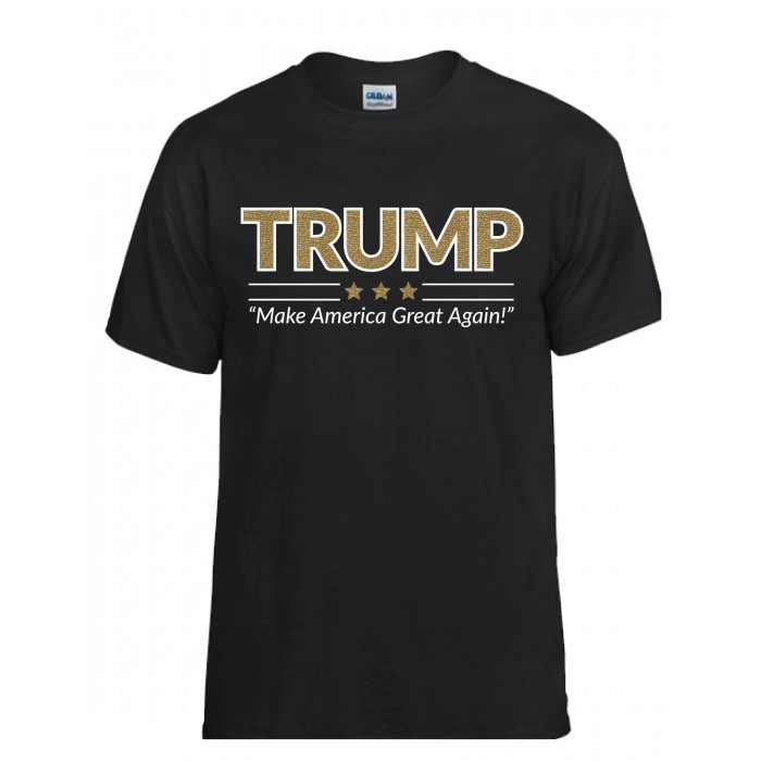 "TRUMP Gold Shimmer Tee<br />""Make America Great Again"""
